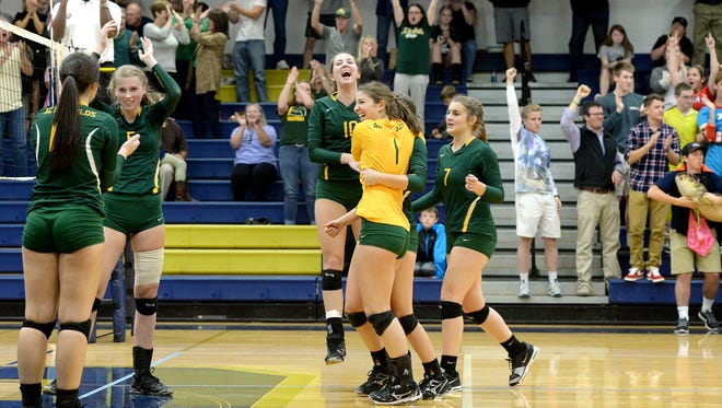 Reynolds volleyball players celebrate a point Wednesday night in Skyland.