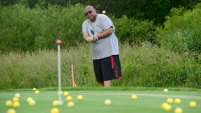 Norman Craig works on chipping at Broadmoor Golf Links during a PGA HOPE (helping our patriots everywhere) clinic on Tuesday, May 30, 2017. The weekly program lasting about seven weeks aims to help veterans by teaching them the sport of golf.