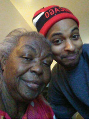 Cleon Baker (pictured with his grandmother) was injured