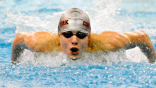 Central York's Alec Peckmann competes in the 200 yard individual medley during swim meet action against Central York at Central York High School in York, Pa. on Thursday, Dec. 10, 2015. (Dawn J. Sagert - The York Dispatch)