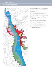 "A map showing the new ""form-based"" zoning districts for the River Arts District"