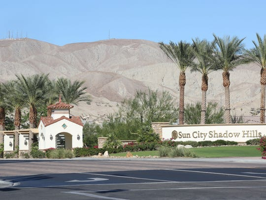 The Sun City Shadow Hills entrance on Ave 40 in Indio,
