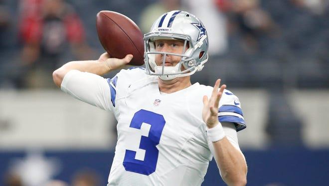 Dallas Cowboys quarterback Brandon Weeden (3) throws a pass before the game against the Atlanta Falcons at AT&T Stadium.