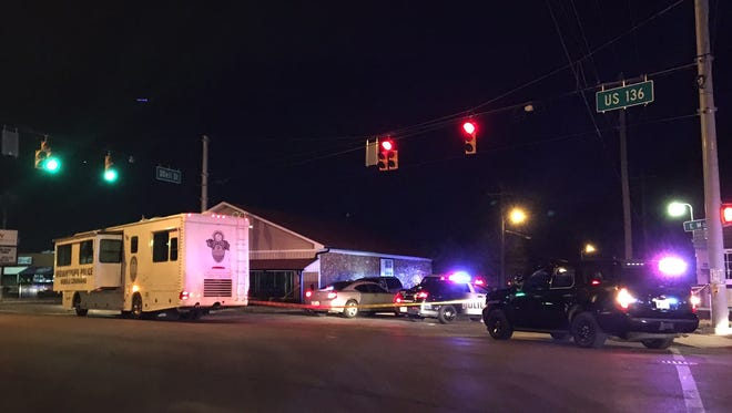 Brownsburg Police and Indiana State Police investigate an apparent officer-involved shooting near ODell and Main Streets in Brownsburg on Feb. 20, 2017.