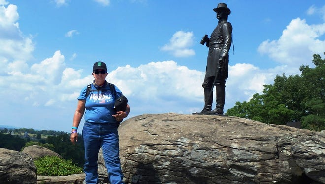 Allison White of Clinton Township took the D to the battlefield at Little Round Top with General Warren south of Gettysburg, PA. Allison rides a motorcycle with the organization called Women On Wheels. Every year the organization has a Ride-In around the 4th of July in a different part of the country. This year's Ride-In was to Gettysburg, PA.