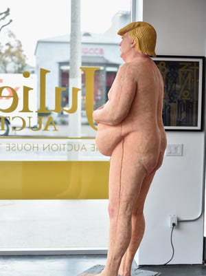 """A naked statue of Republican Presidential Candidate Donald Trump titled """"The Emperor Has No Balls"""" is on exhibition at Julien's Auctions Gallery on October 17, 2016 in Beverly Hills, Calif."""