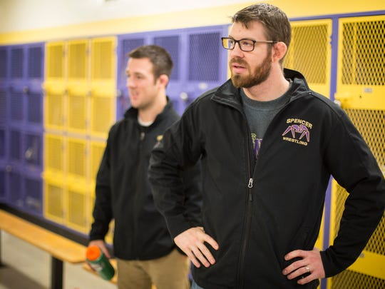Spencer high school wrestling co-coaches, Adam Gress,