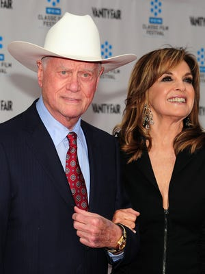 "Larry Hagman and Linda Gray, seen in 2012,  played combative spouses J.R. and Sue Ellen Ewing on ""Dallas."""