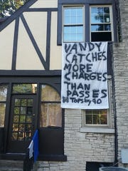 "A Western Kentucky fraternity house displays a sign mocking a rape case involving former Vanderbilt football players. It reads ""Vandy catches more charges than passes. Tops by 90."""