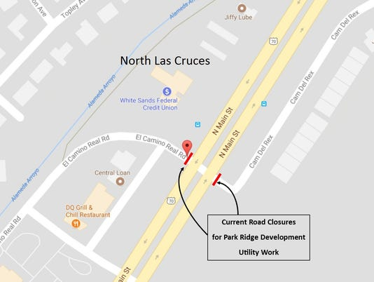 Map of Camino Del Rex and Camino Real Road closures in Las Cruces