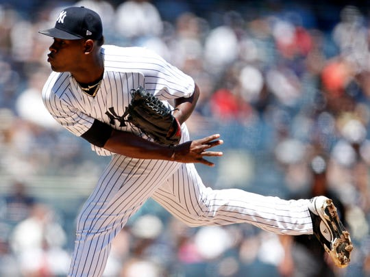 New York Yankees pitcher Luis Severino follows through on a delivery to the plate during the first inning of a baseball game against the Tampa Bay Rays, Saturday, June 16, 2018, in New York.