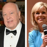 This photo combo of file images shows Fox news CEO Roger Ailes in 2015, left, and former Fox News host Gretchen Carlson in 2016, right.