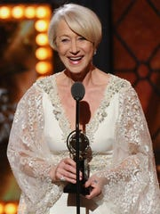 Helen Mirren accepts the award for leading actress