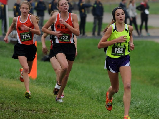 Mount Gilead's Allison Johnson runs in the state cross country meet last year at National Trail Raceway in Kirkersville.