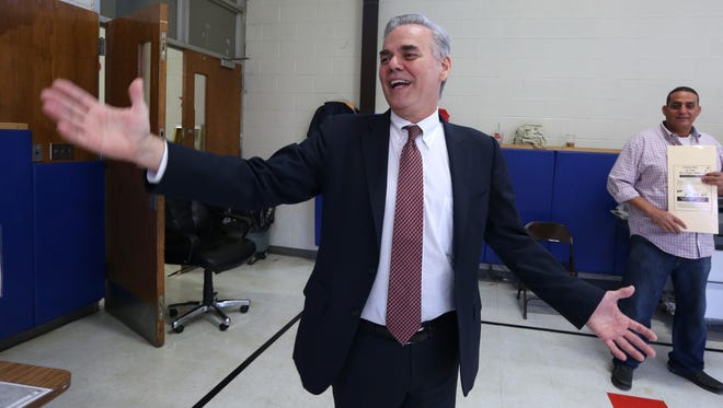 Town of Ramapo Supervisor Christopher St. Lawrence votes at Grandview Elementary School in Monsey Nov. 3, 2015.