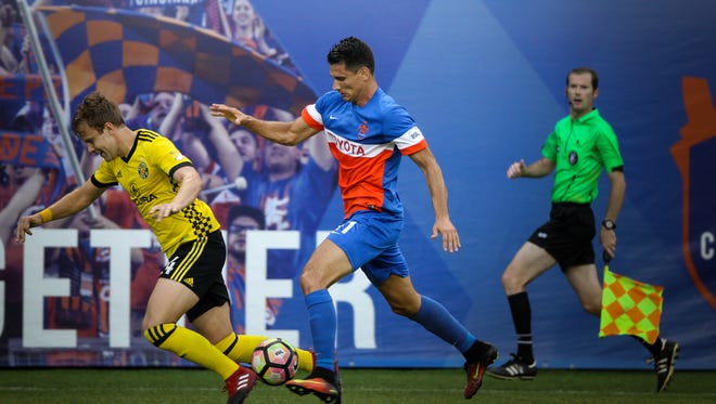 FC Cincinnati forward Danni Konig chaces down the ball in the first half of the US Open Cup match against the Columbus Crew Tuesday, June 13, 2017 at Nippert Stadium.