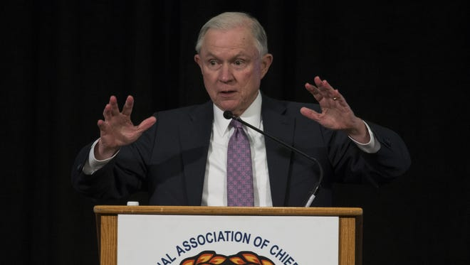 U.S. Attorney General Jeff Sessions speaks April 11, 2017, at the International Association of Chiefs of Police Division Midyear Conference at the Wigwam, 300 E. Wigwam Blvd., Litchfield Park.