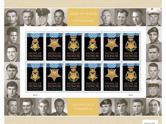 Forever postage stamps honoring Vietnam Medal of Honor recipients.