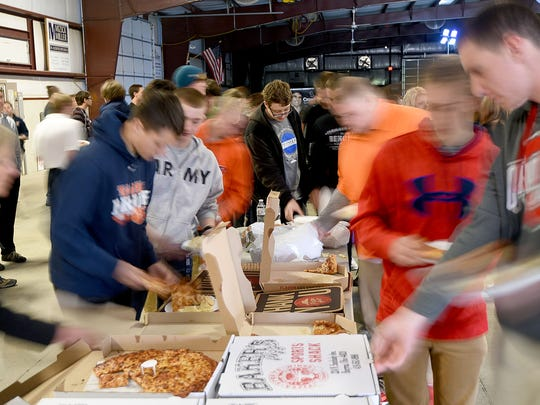Students from Crawford County enjoyed pizza for lunch on Thursday during Junior Day at the Crawford County Fairgrounds.