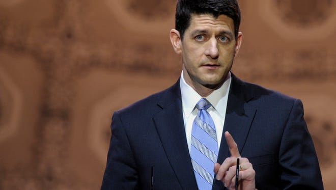 """House Budget Committee Chairman Rep. Paul Ryan, R-Wis. speaks at the Conservative Political Action Committee annual conference in National Harbor, Md., Thursday, March 6, 2014. Ryan said GOP leaders and conservative activists should """"give each other the benefit of the doubt"""" in the debate over the party's future."""