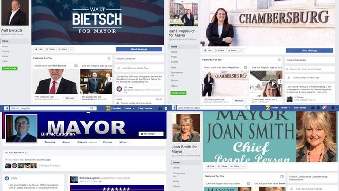 This image features screenshots of the Facebook pages of Chambersburg's four mayoral candidates in 2017, clockwise, from top left: Walt Bietsch, Ilana Vojnovich, Joan Smith and Bill McLaughlin.