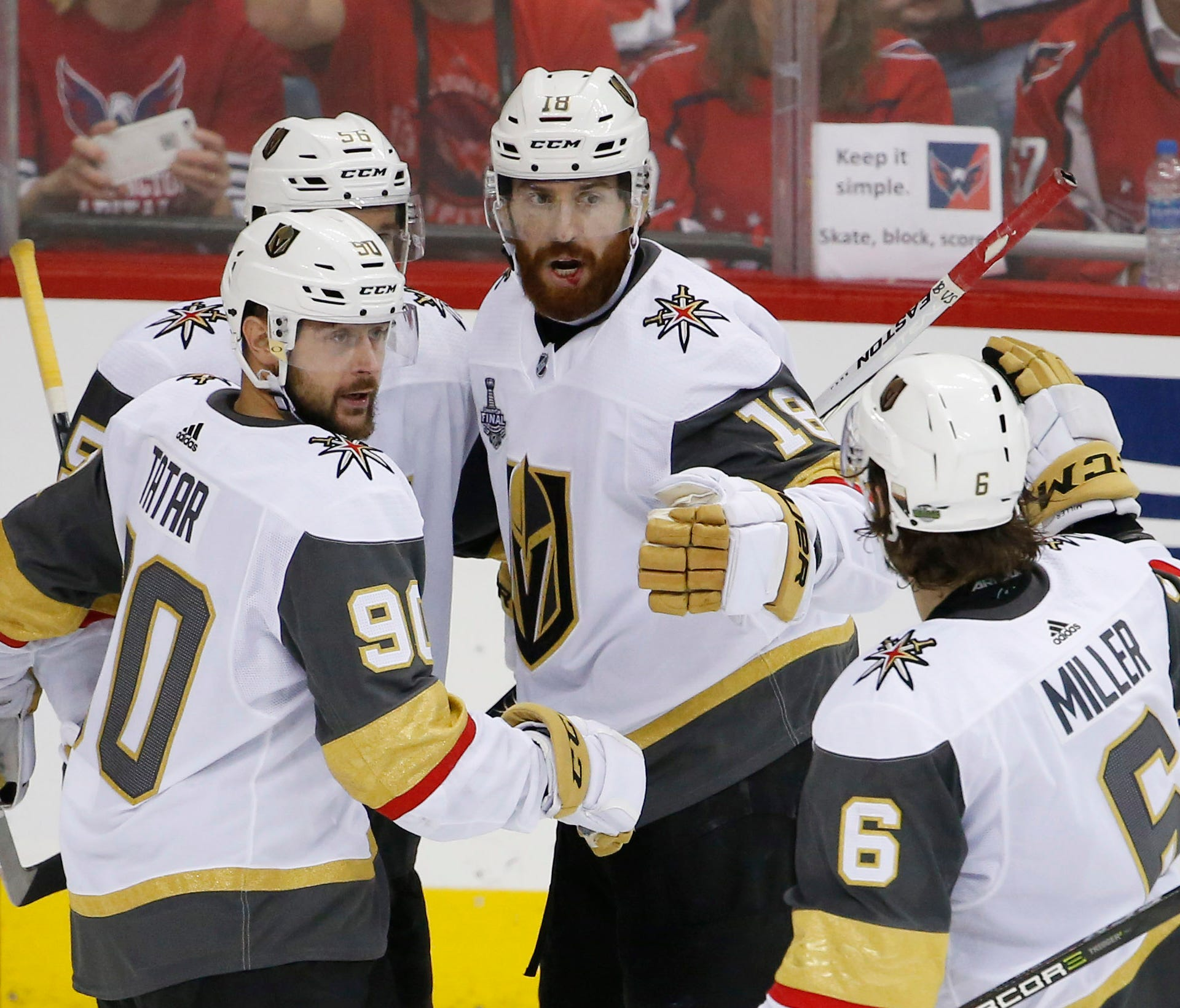 Vegas Golden Knights left wing James Neal (18) celebrates with teammates after scoring a goal against the Washington Capitals in the third period of Game 4 of the Stanley Cup Final.