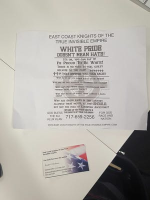 Flyers apparently distributed by a group affiliated with the Ku Klux Klan were found Downtown on Feb. 1, 2018.