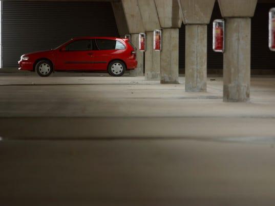 Car in parking garage