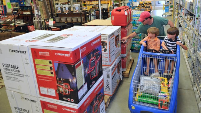 Shoppers at a Lowe's in Indian Harbour Beach look for deals during a recent hurricane tax holiday time period.
