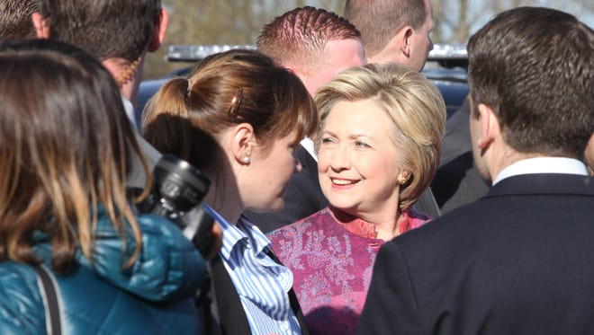 Hillary Clinton greets well wishers after voting in the New York state presidential primary at Douglas Grafflin Elementary School in Chappaqua on April 19, 2016.
