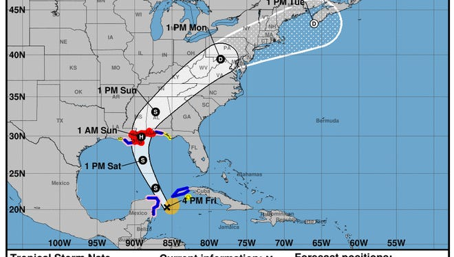 The coastal watches/warnings and forecast cone for Tropical Storm Nate as of 4 p.m. Friday.