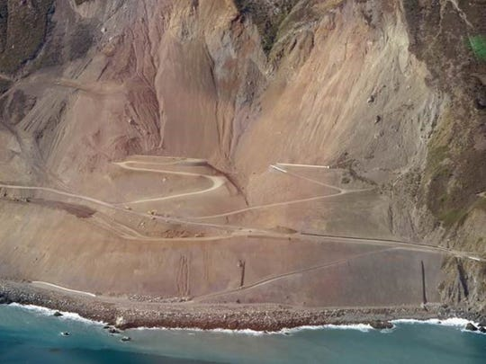 This photo shows Highway 1 near Big Sur, which had been shut down since last year due to a major landslide. Caltrans reports the road should reopen by the end of July.