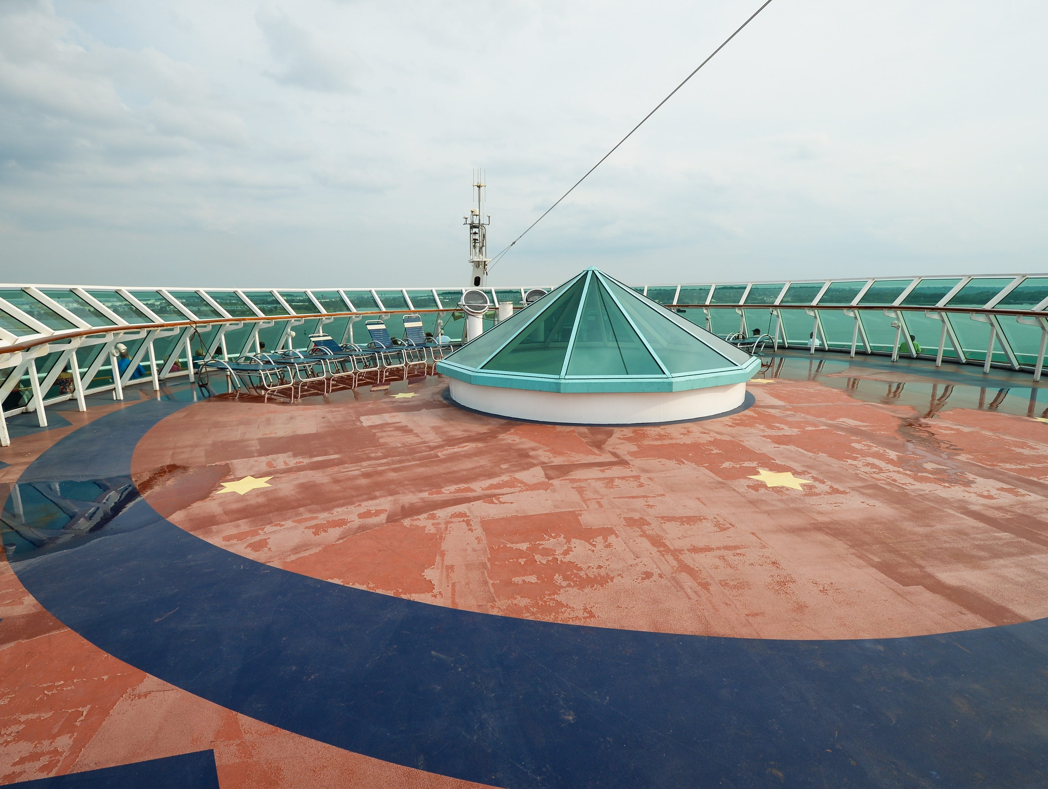 The outdoor Observatory, at the front of Deck 10, offers a birds-eye view to the ocean.