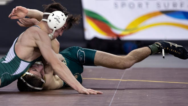 East Brunswick's Mitchell Polito defeats Seneca's Joe Manchio in their 120 lbs. semifinal in Atlantic City. on March 3, 2013