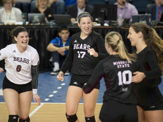 Missouri State's Emily Butters, left, and Lily Johnson,