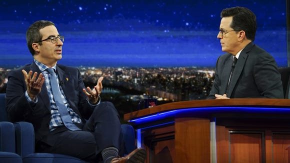 'Daily Show' alumni John Oliver and Stephen Colbert,