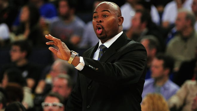 Former Utah Jazz assistant coach Sidney Lowe instructs during the second quarter against the Golden State Warriors at ORACLE Arena.