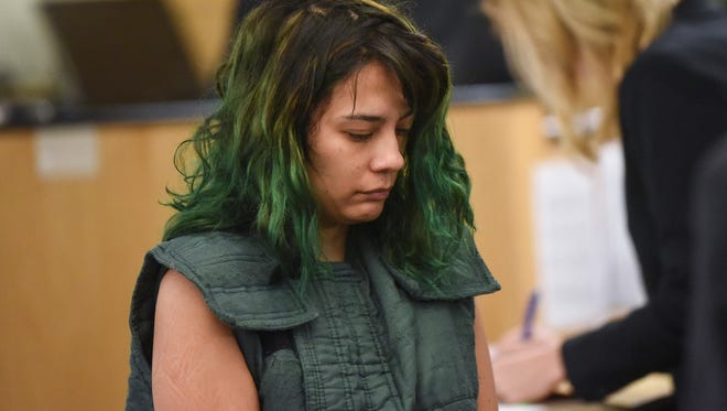 Emily Javier makes a first appearance in Clark County Superior Court on March 5, 2018, in Vancouver, Wash.