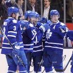 Toronto Maple Leafs forward P.A. Parenteau (15) celebrates