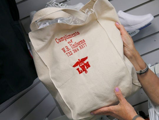 A tote bag at WB Uniforms in Toms River Thursday, September