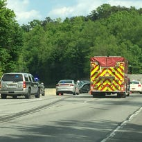 Traffic is backed up after an accident Tuesday on I-40 eastbound.