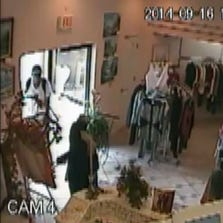 Screenshot of the suspect sought in the robbery beating at Elonka's Fashions on Sept. 16.