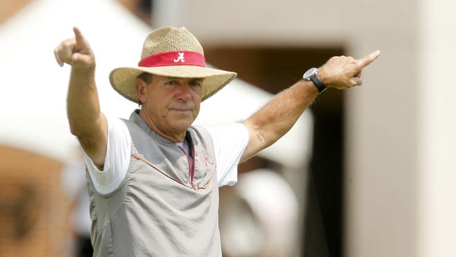 Coach Nick Saban works with defensive backs as The University of Alabama opened practice to begin preparations for the 2019 football season Friday, August 2, 2019.