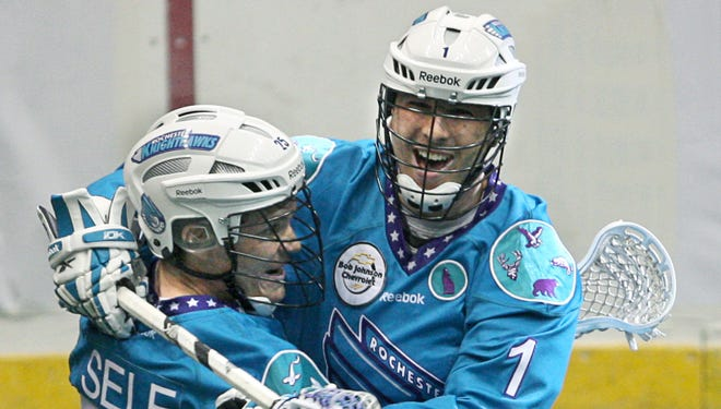 Joe Walters, right, spent the past eight seasons with the Knighthawks, his hometown team. But the 32-year-old from Irondequoit doesn't expect to play in the NLL this winter and spring.