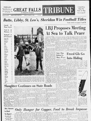 Front page of the Great Falls Tribune on Sunday, Nov. 12, 1967.