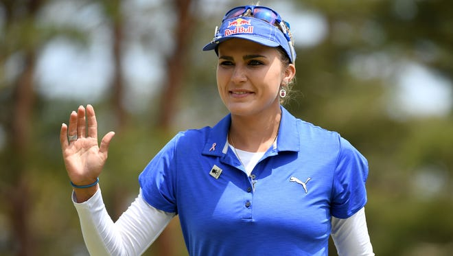 Lexi Thompson smiles during the final round of the World Ladies Championship Salonpas Cup on May 8, 2016, in Tsukubamirai, Japan.