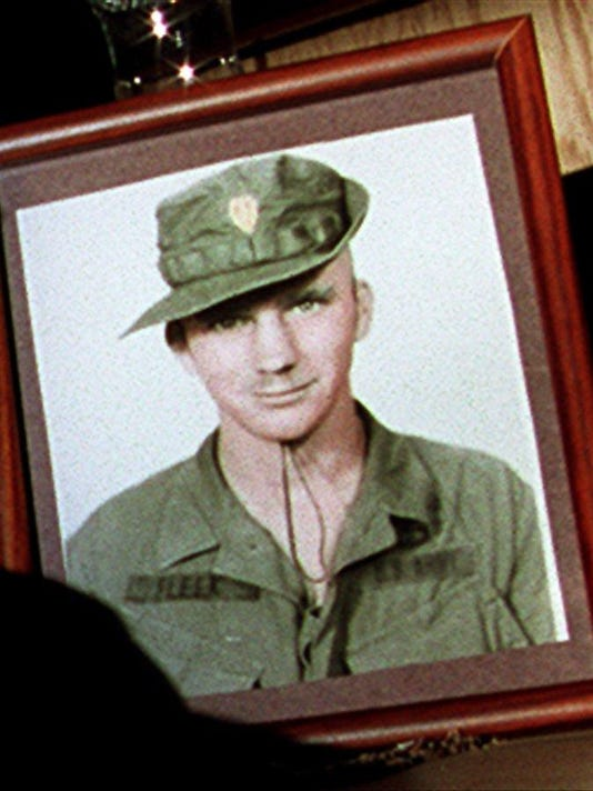 Text: 1991105.17.02 MEDALHONOR METRO: Copy photo of Sgt. Charles Fleek, killed during the Vietnam War and is one of the few Congressional Medal of Honor recipients in the Tri State area. Photo by Jeff Swinger for the Cincinnati Enquirer. ld