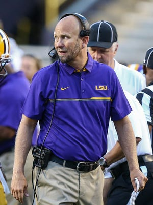 LSU offensive coordinator Matt Canada during the second quarter of the annual Louisiana State Tigers purple-gold spring game at Tiger Stadium. Purple team won 7-3.
