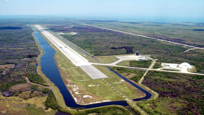 Aerial view of Kennedy Space Center's Shuttle Landing Facility.