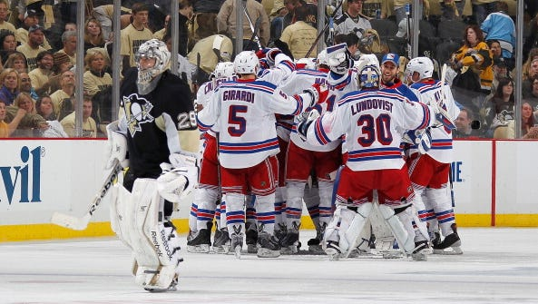 The Rangers hope to do a lot more celebrating against the Penguins over the next two weeks.